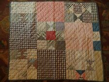 Early 1900's Vintage DOLL Quilt, Shirting, Dark Checks & Plaids, 9 Patch, BowTie
