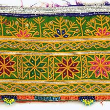 Embroidered Antique OLD Textile Trim (22x6in) Belly Dance tribal Kuchi 652f4