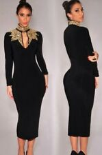 SEXY BLACK GOLD SEQUIN LONG SLEEVE  MIDI BODYCON DRESS SIZE 12-14