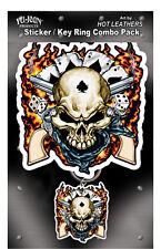 Cowboy Scull Sticker+Schlüsselanhänger im Set Keychain MC Bike Harley Eagle