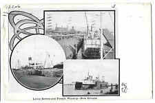 Levee Scenes & French Warship Multiview PPC U/B 1906  New Orleans PMK to Jersey