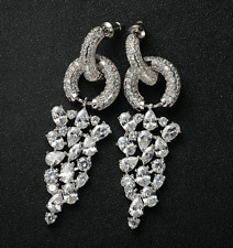 18k White Gold Earrings made w Swarovski Crystal Marquise Stone Gorgeous