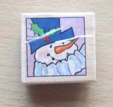 Christmas Stamp SNOWMAN STAMPIN' STRIP HEAD in SQUARE Wood Mounted Rubber Stamp