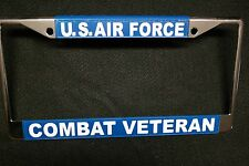 Military License Plate Frame-U.S. Air Force Combat Veteran #811130-Chromed Metal