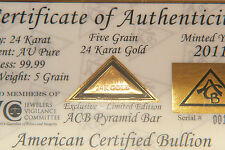 ACB GOLD PYRAMID 5GRAIN 24K SOLID BULLION MINTED BAR 99.99 FINE With COA.