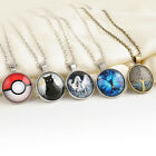 New Classic Butterfly Cabochon Pokemon Tree of Life Silver Chain Glass Necklace