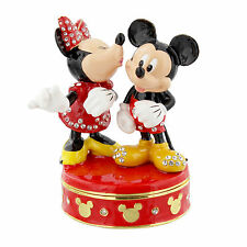 Disney Mickey and Minnie Mouse Kiss Hinged Metal Die Cast Trinket Box 9cm DI352