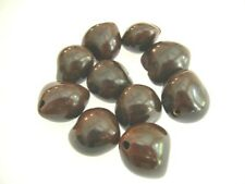 Kukui Nut Beads Brown  for Jewelry Making Pack of 10