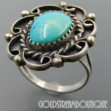 VINTAGE NAVAJO STERLING SILVER AMERICAN TURQUOISE SWIRLY RING SIZE 6 SKU-3049