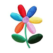 ID 6844 Colorful Daisy Flower Rainbow Petals Embroidered Iron On Applique Patch