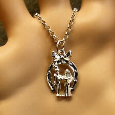 SILVER second hand wedding couple pendant & chain