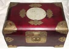 BOITE A BIJOUX EN BOIS ORNE CELADON BLANC AVEC POIGNETS CHINESE JEWEL BOX