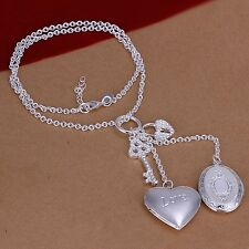 925 Sterling Silver Necklace Pendant Heart B4