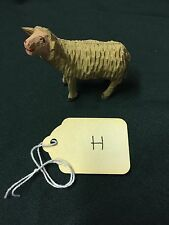 Vintage Tiny Wood carved Standing German Miniature Christmas Sheep  ~ Antique