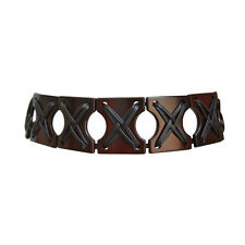 YVES SAINT LAURENT by Tom Ford brown wooden & leather belt - Rare ! - ceinture