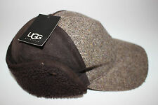 NWT UGG S/M Men's Shearling Brown Dyed Leather Wool Tweed KILLIAN Baseball Cap