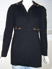 WOMENS JAMES PERSE WOOL BLACK JACKET DRESS WITH GOLD CHAIN SET IN COLLAR SIZE
