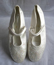 """WOMENS BHS  White Textile Low Heel 0.5"""" Pump/Ballerina Shoes Size:3/36"""