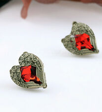New Etched Bronze Gothic Red Rhinestone Heart Angel Wing Earring Valentines Gift