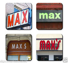 Personalized Coasters featuring the name MAX in photos of signs - Set of 4
