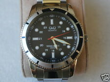 Nice Q&Q by Citizen Men's Watch w/Two Tone Black & White Bezel & 24 Hrs Markers