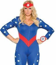 Captain America Costume 1X/2X Women Plus Sexy Cosplay Superhero Marvel Halloween