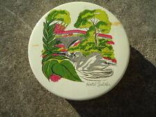 Round White & Gold Tin with Swan Swimming Near a Bridge 6 ½ Inches Diameter X 1