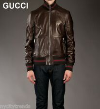 GUCCI leather jacket bomber teddy coat brown classic red green stripe nr S 46 36