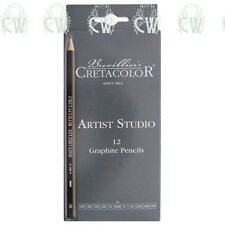 Cretacolor Artists Studio Graphite 12 Pencils Set 6B,4B,3B,2B,B,HBx2,F,H,2H,3H