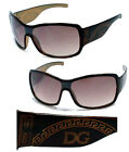 New Large Shield Womens Fashion Wrap Sunglasses- Transparent Brown Frame D112