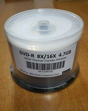 Mitsubishi 50 Pack of DVD-R 8X/16X 4.7GB White Thermal Transfer Printable Discs