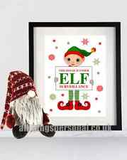 Elf Surveillance Poster Print Fun Christmas Gift Decoration For On The Shelf A4