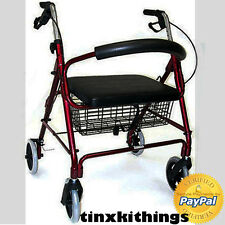 Medical Adult Rollator Walker with Wide Seat Folding Mobility Chair Old Disabled