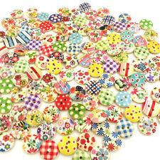100x mixte rond 2 trous boutons en bois de couture des métiers de Scrapbooking