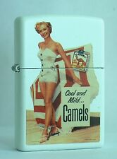 CAMEL ZIPPO LIGHTER PIN UP CAMEL  GIRL IN WHITE BATHING SUIT  CZ #  XXX