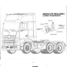 3 velocità triassiale 1/14 RC Auto Rimorchio Trattore Camion Hauler Montaggio Kit Set 401