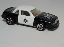 1989 Hot Wheels POLICE CAR Diecast Metal Black & White Blue Sheriff Star Vehicle