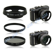 JJC Metal Lens Hood + 58mm UV CPL Filters for Panasonic Lumix G 14mm f/2.5 ASPH