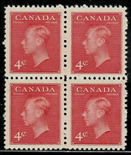 "Canada #287 4¢ King George VI ""Postes-Postage"" Block of Four MNH"
