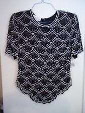 LAURENCE KAZAR Black/White Sequin Beaded Evening Silk Top Sz L Lord & Taylor NWT
