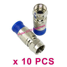 10x RG6 Coaxial Cable F Type Compression Fitting F Connector Plug CATV Satellite