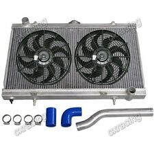 "CXRacing Radiator + 12"" Fans + Water Hard Pipe Kit For 89-94 240SX S13 1JZ 2JZ"