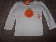 NWT GYMBOREE Off-White Long Sleeve SHIRT TOP with Tulle Pumpkin 18-24 MONTHS