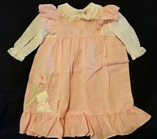 Vintage Nanette Baby Girl Dress Pink Plaid Long sleeve Kitty Cat Rose 3-6 month