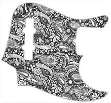 J Bass Pickguard Custom Fender Graphic Graphical Guitar Pick Guard Paisley BK-WH