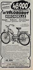 Publicité de presse Velorobot Hirondelle 1953