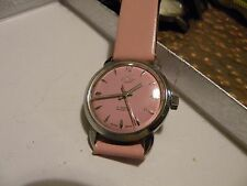 "VINTAGE RARE ""ENICAR SEA PEARL"" MID SIZE 32mm without crown in PINK UNISEX"