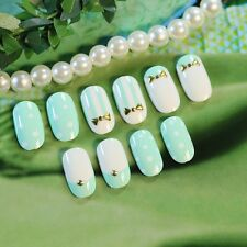 24 Pcs Oval False Nails Full Design Short Candy Blue and White Nail Tips