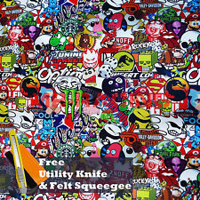 "*60""x72"" JDM Cartoon Stickerbomb Car Laptop Vinyl Sticker Wrap Decal Sheet #ST"