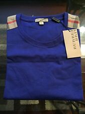 New Burberry Shoulder Nova Check Haymarket Plaid Men Blue Logo  M / S  $225